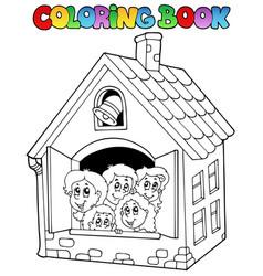 coloring book school cartoons 4 vector image