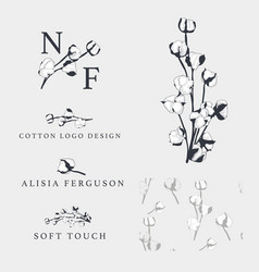 Cotton flower hand drawn logo templates vector