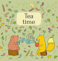 Cozy lable card for forest tea vector