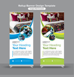 Creative interior design roll up banner vector