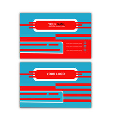 creative red blue business card vector image