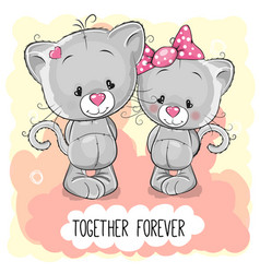 Cute cartoon kittens boy and girl vector