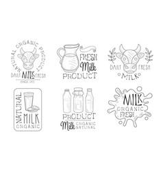 daily fresh milk hand drawn retro labels set vector image