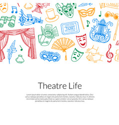 doodle theatre background vector image