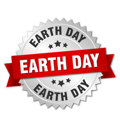 Earth day round isolated silver badge vector