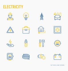 Electricity thin line icons set vector