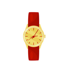 elegant wrist watch with bright red strap and vector image