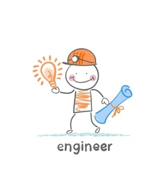 Engineer holding blueprints and idea vector
