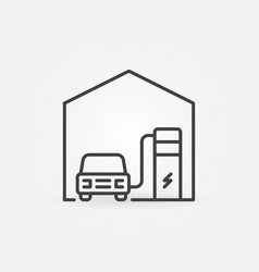 ev charging at home concept icon in outline vector image