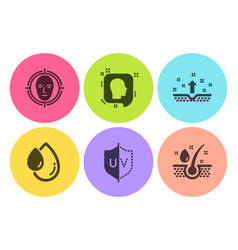 face detect head and uv protection icons set oil vector image