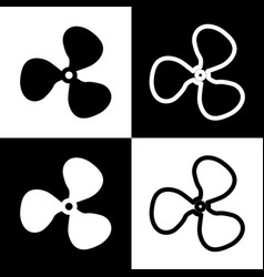 fan sign black and white icons and line vector image