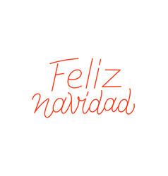 feliz navidad calligraphic line art typography vector image