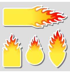 Fire flame tag label set vector image