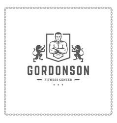 Fitness gym logo or emblem vector