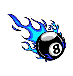 flaming billiards eight ball cartoon vector image