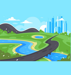 Flat road to city near river green landscape and vector