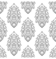 Floral leaf seamless pattern in zentangle style vector image