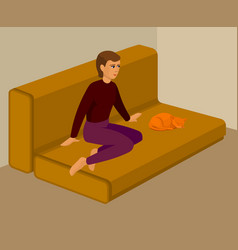 girl with ginger cat on a sofa cartoon vector image
