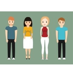 Girls and boys teenagers cartoons design vector