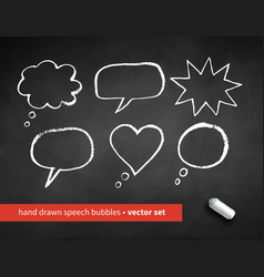 grunge chalk drawn speech bubbles vector image