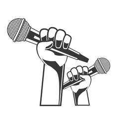 hand with microphone karaoke vector image