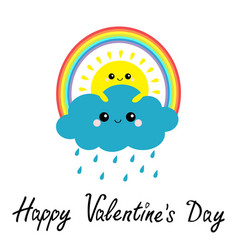 happy valentines day sun cloud rainbow rain set vector image