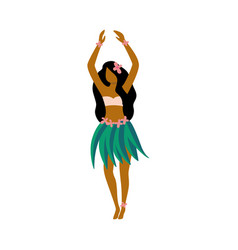 Hawaiian hula girl dancer character in skirt flat vector