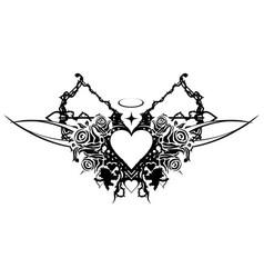 heart valentine stencil vector image