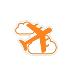 Icon sticker realistic design on paper aircraft vector