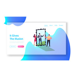 Illusion landing page template female character vector
