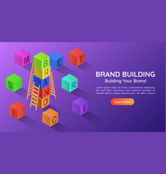 isometric banner alphabet block combined a brand vector image