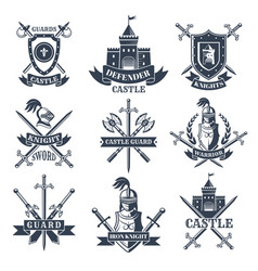 labels or badges set with pictures medieval vector image