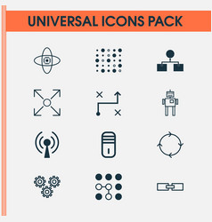 Machine icons set collection of radio waves vector