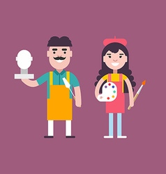 Male and Female Cartoon Character Sculptor and vector