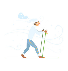 man skiing with sticks vector image