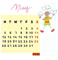 may 2014 kids calendar vector image