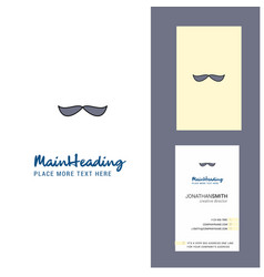mustache creative logo and business card vertical vector image