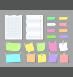 Notepaper with adhesive tape blank stickers vector