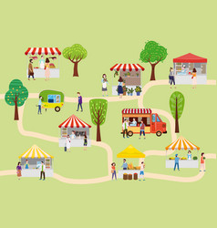 outdoor street food festival with people walking vector image