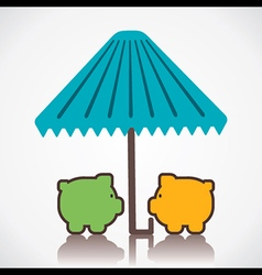 piggy under umbrella or save money concept vector image
