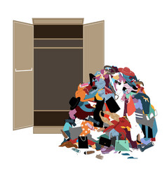 pile messy girl or lady clothes gotten out of vector image
