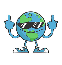 Planet earth cartoon character with sunglasses vector