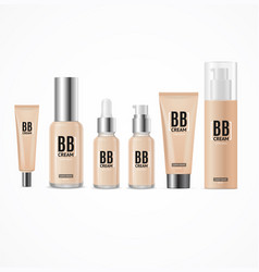 realistic 3d empty template bb cream package set vector image