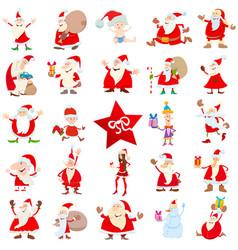 santa claus christmas characters cartoon set vector image