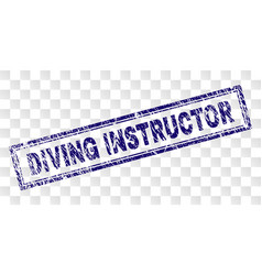 Scratched diving instructor rectangle stamp vector