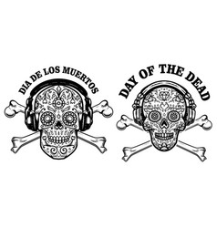 set mexican sugar skull with headphones and vector image