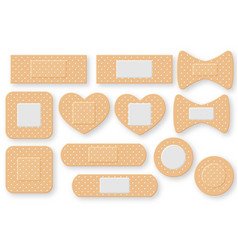 set of realistic first aid band plaster strip vector image