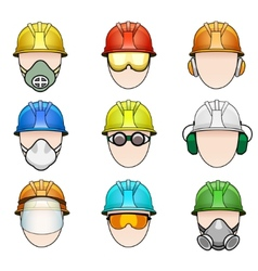 Set worker icons in helmet with protective vector