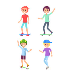 skating boys set isolated on white background vector image
