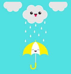 smiling laughing umbrella cute cartoon kawaii vector image